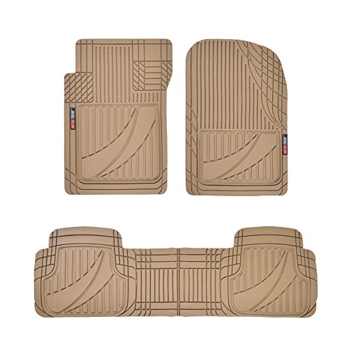 Motor Trend OF-793-BG FlexTough Advanced Performance Mats-3pc Rubber Floor Mats for Car SUV Auto All Weather Plus-2 Front & Rear Liner (Beige)
