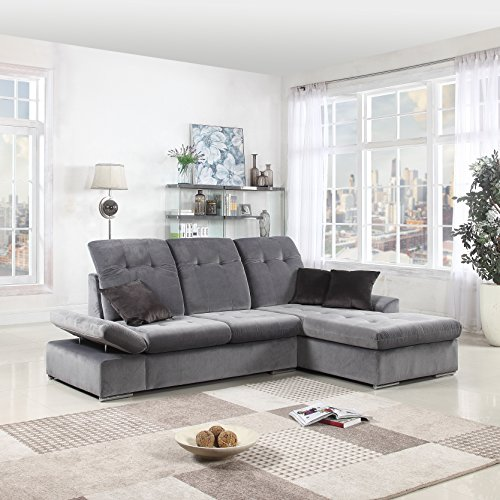 Classic Large Brush Microfiber L-Shape Sectional Sofa Couch with Chaise Lounge and Adjustable Headrest (Grey / Grey) (Facing Sectional Right Chaise)