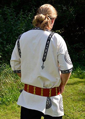 Blanca Resistente Romano túnica con ornamento, tunica Manicata, de manga corta LARP (Tallas S–L