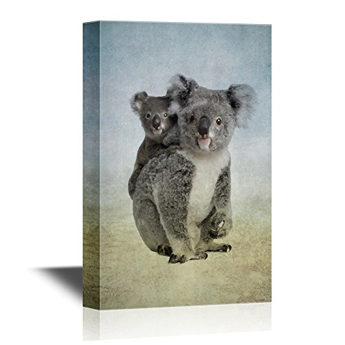 - wall26 - Wild Animal Canvas Wall Art - Mother Koala and Baby Koala - Gallery Wrap Modern Home Decor | Ready to Hang - 16x24 inches