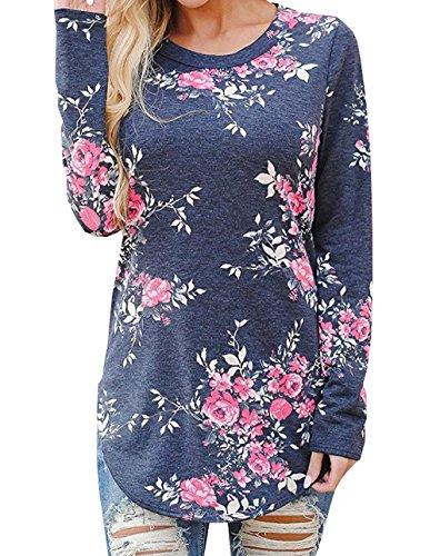 Maglie a manica lunga Donna Camicie a fiori Bluse T-Shirt Girocollo Camicetta Shirts Asimmetrico Top Tunica Autunno