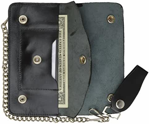 100% Genuine Leather Chain Wallet Black #646SM