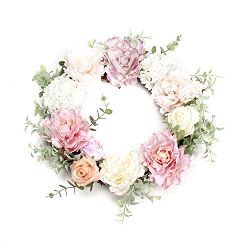 LTWHOME Artificial Handmade Spring Summer Wreath with Peonies, Roses, Hydrangeas for Home, Door, Wall, Mantelpiece, Window Decoration, Part Number WHPPY (Peony Wreath Rose)