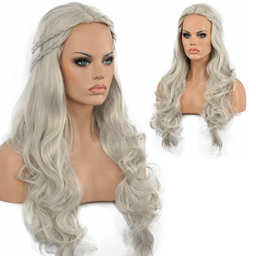 Diy-Wig Long Wave Styled Braid Gray Synthetic Cosplay Wigs Game of Thrones Halloween Party Full Head Wig (Grey)]()