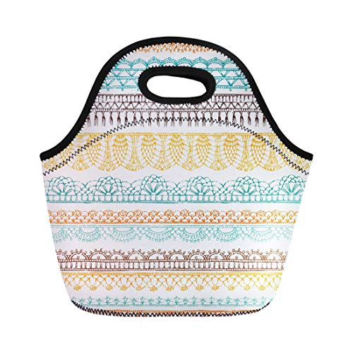 - Semtomn Neoprene Lunch Tote Bag Border Crochet Ethnic Pattern Knitted Lacy on Boundless Contour Reusable Cooler Bags Insulated Thermal Picnic Handbag for Travel,School,Outdoors,Work