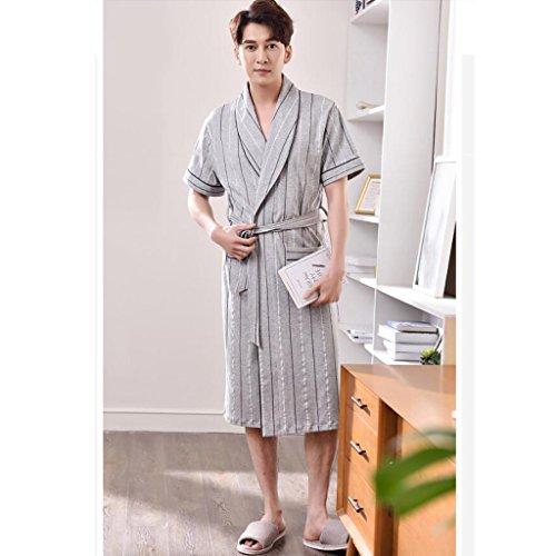 cotone in ZLR in dimensioni pigiama Accappatoi da sezione maniche da a cotone notte estivo di in stile Grigio Camicia grandi sottile lungo corte giapponese uomo uomo SwddYU