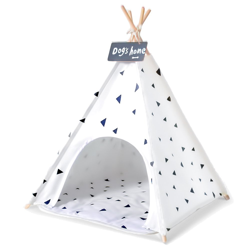 Wonder Space Pet Teepee Tent - 28 Inch Portable Cat Dog Puppy Snuggle House with Removable Cushion Mat By, 100% Natural Cotton Canvas Small Animals Wooden Poles Furniture Bed Tent, White