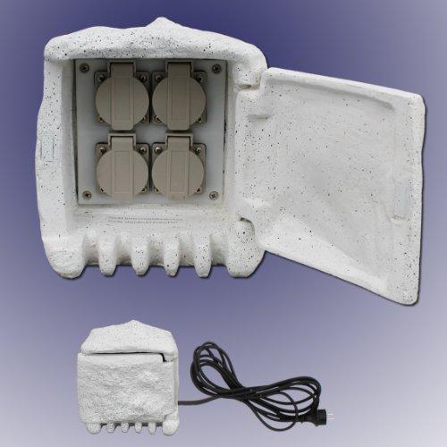 Trango 4-fach IP44 Steckdosenstein für Ihren Garten Steckdosen für Außen inkl. 5Meter Zuleitung TGSTD4