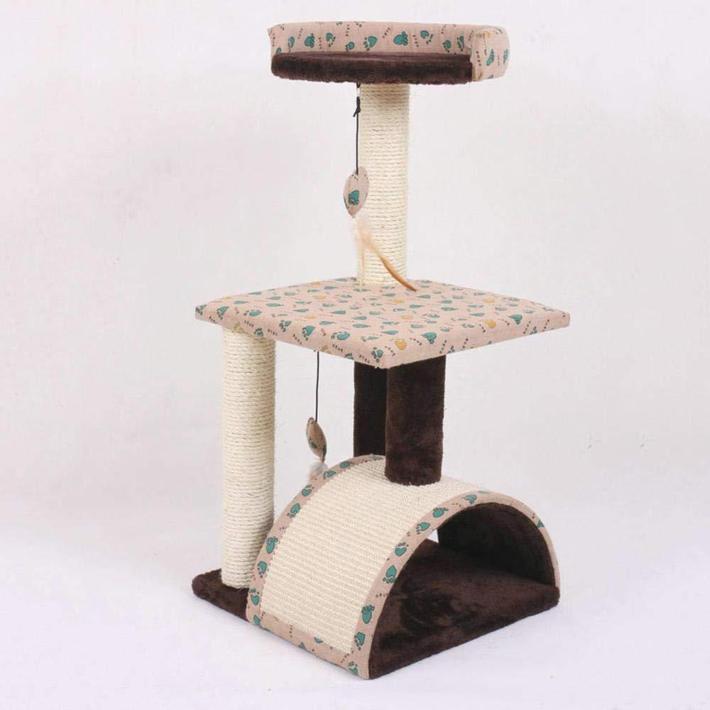 Hexiansheng Cat Climb Trees Small pet cat Platform Arched sisal Carpet sisal-Claw Wood 36x37x78cm
