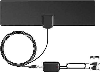 Surenhap Antena de TV, HD 4K Antena Interior HDTV (80 Millas) con Amplificador de señal avanzado para Antena de TV Compatible con DVB-T/DVB-T2