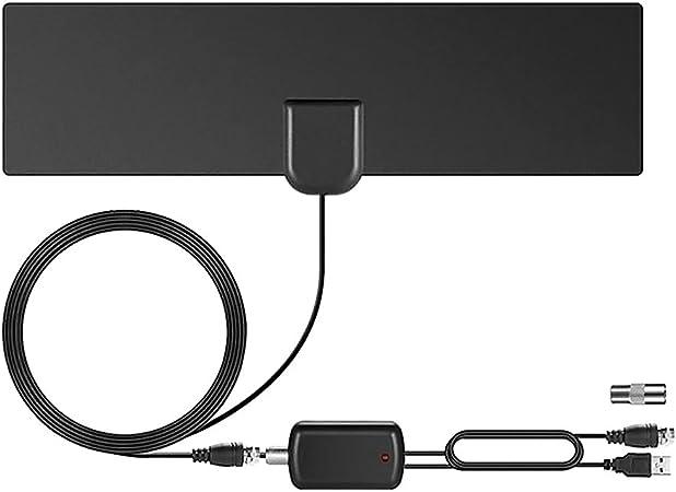 Surenhap Antena de TV, HD 4K Antena Interior HDTV (80 Millas) con Amplificador de señal avanzado para Antena de TV Compatible con DVB-T/DVB-T2: Amazon.es: Hogar