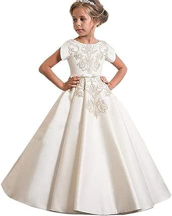VJGOAL Vestidos de Princesa para niñas Vestido de Novia de cumpleaños Vestido de Noche Largo Bordado de Manga Corta Vestido de tutú de Fiesta de Arco: Amazon.es: Ropa y accesorios