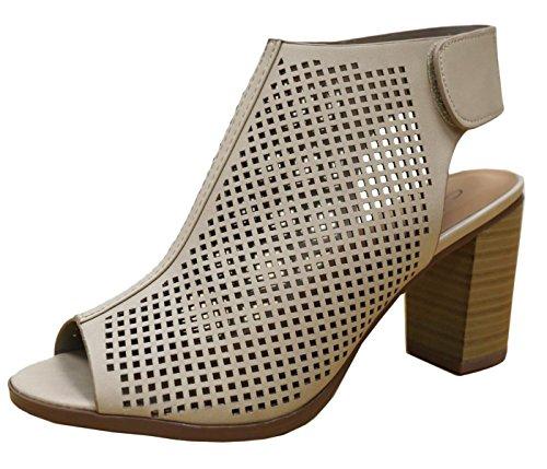 Stacked Platform Pumps (Cambridge Select Women's Laser Cut Slingback Stacked Heel Pump Bootie (8 B(M) US, Beige))