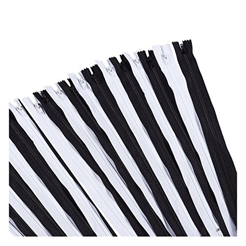 (Nylon Coil Zipper - 100-Pack 12-inch Zippers, Non-Separating All-Purpose Zippers for Tailor Sewing Crafts, Replacement, 50 Black and 50 White)