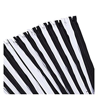 Juvale Nylon Coil Zipper - 100-Pack 12-Inch Zippers, Non-Separating All-Purpose Zippers for Tailor Sewing Crafts, Replacement, 50 Black and 50 White