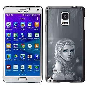 For Samsung Galaxy Note 4 IV / SM-N910F / SM-N910K / SM-N910C / SM-N910W8 / SM-N910U / SM-N910G , S-type® Rain Lonely Sad Black White Drawing - Arte & diseño plástico duro Fundas Cover Cubre Hard Case Cover
