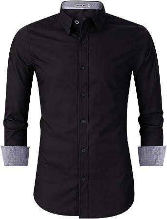 KUULEE Hombre Camisa Manga Larga Slim Fit Camisa Vaquera/Camisa a Cuadros Rejilla de Diamante
