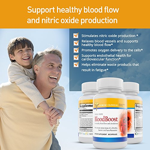 Nordic Clinical's Nitric Oxide BloodBooster [60 capsules]. Support Blood Flow & Nitric Oxide Productions. Nitric Oxide Boosters promotes oxygen delivery to cells With Setria® Glutathione & SpectraTM