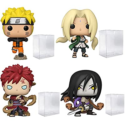 Funko Pop! Animation: Naruto - Naruto Running, Lady Tsunade, Gaara and Orochimaru - Bundle of 4 - in Playola Pop Protectors: Toys & Games