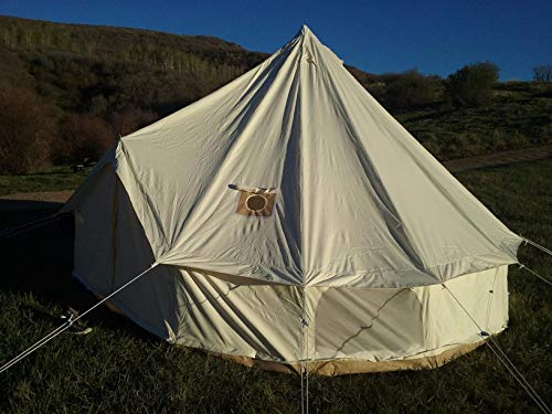 An off-white bell tent.