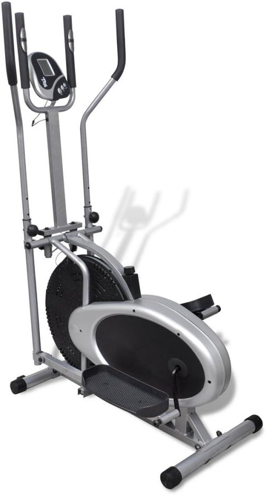 Festnight Bicicleta Elíptica con Sensores de Pulso Color Negro y ...