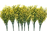 CATTREE Artificial Shrubs Bushes, Plastic Fake Plants Wedding Indoor Outdoor Home Garden Verandah Kitchen Office Table Centerpieces Arrangements Christmas Decoration Yellow 8 pcs