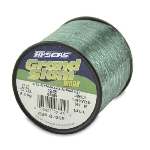 Hi-Seas Grand Slam Monofilament, 12 Pound Test, Green, 1/4-Pound Spool