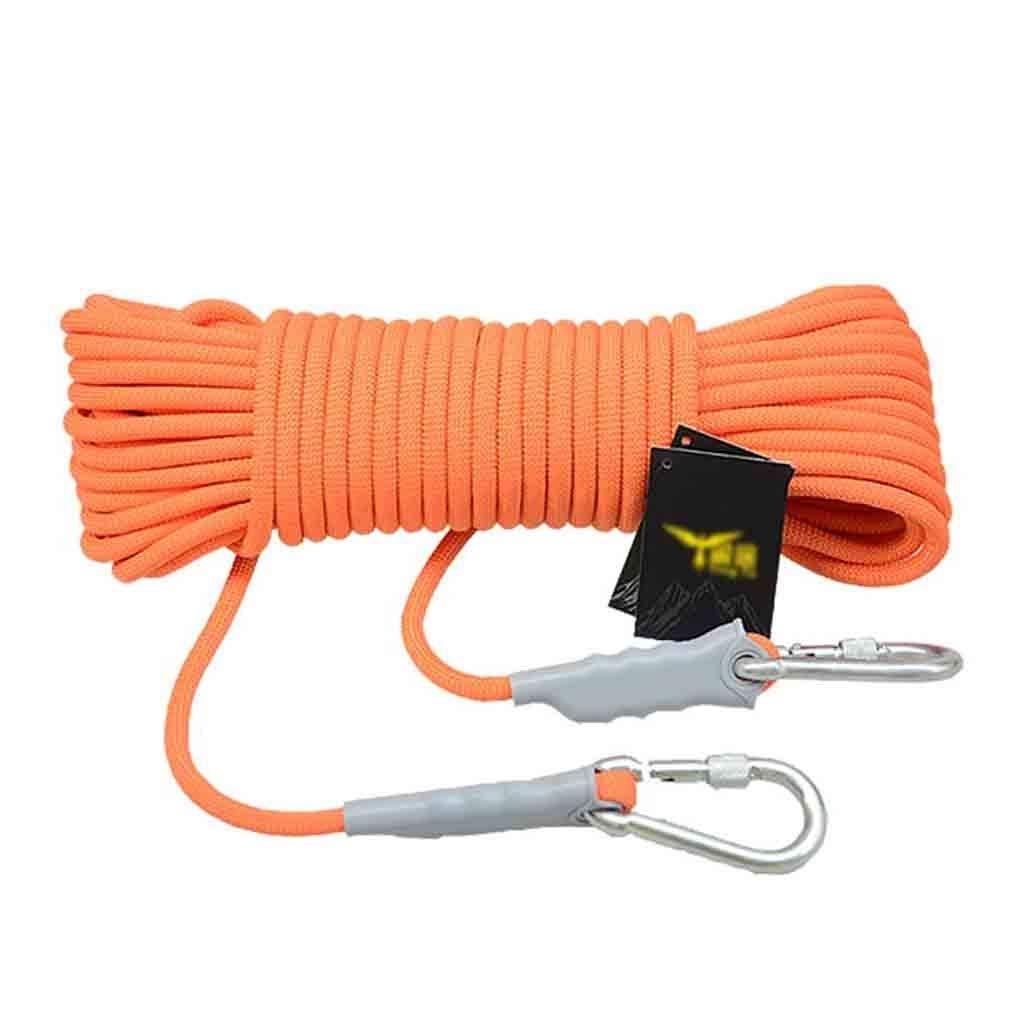 40 Meters équipement d'escalade Corde auxiliaire de sauvetage en polypropylène Orange for alpinisme, corde auxiliaire de sécurité extérieure antidérapante de 6 mm de diamètre et résistant à l'
