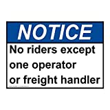 ComplianceSigns Vinyl ANSI NOTICE No Riders Except One Operator Or Freight Handler Labels, 5 x 3.50 in. with English Text, White, pack of 4