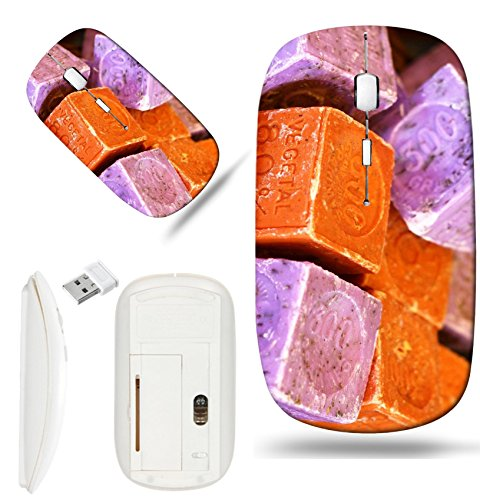 Luxlady Wireless Mouse White Base Travel 2.4G Wireless Mice with USB Receiver, 1000 DPI for notebook, pc, laptop, macdesign IMAGE ID: 23329018 Natural soap bars in the basket on the Provencal market