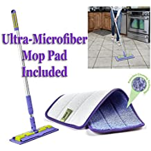Nano-Knockout ULTRA MICROFIBER Floor Mop - Deep Clean Damp Mop - Includes Telescopic Extension Pole - Light Weight - Strong Durable + Microfiber MOP PAD -JUST ADD WATER No Detergents Needed