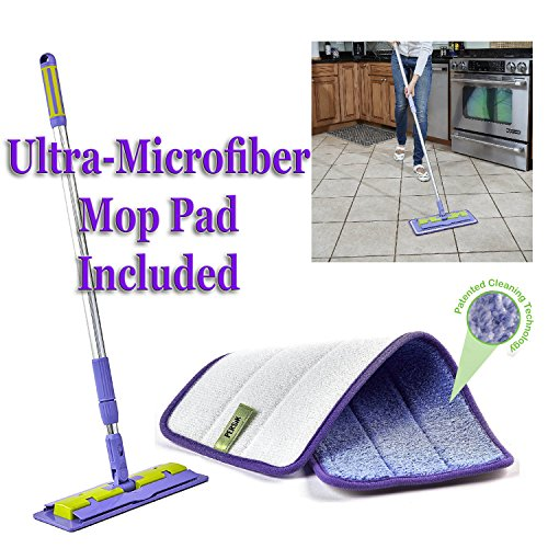 Nano-Knockout ULTRA MICROFIBER Floor Mop - Deep Clean Damp Mop - Includes Telescopic Extension Pole - Light Weight - Strong Durable + Microfiber MOP PAD -JUST ADD WATER No Detergents Needed Microfiber Lightweight Mop