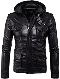 Men Faux Leather Jacket Moto Biker Jacket Detachable Hood Multi-pocke coat