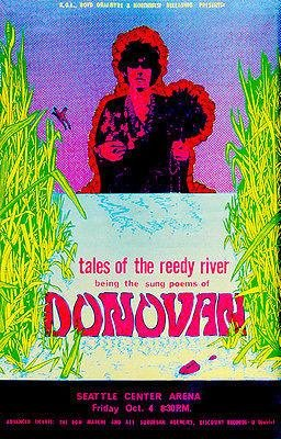 Seattle Concert Poster - Donovan - Tales of The Reedy River - 1968 - Seattle - Concert Poster