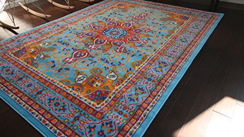 Generations pre8023LightBlue_2x4 Oriental Traditional Isfahan Persian Area Rug, 2' x 3', Light Blue/Navy/White/Orange/Yellow/Crimson Red