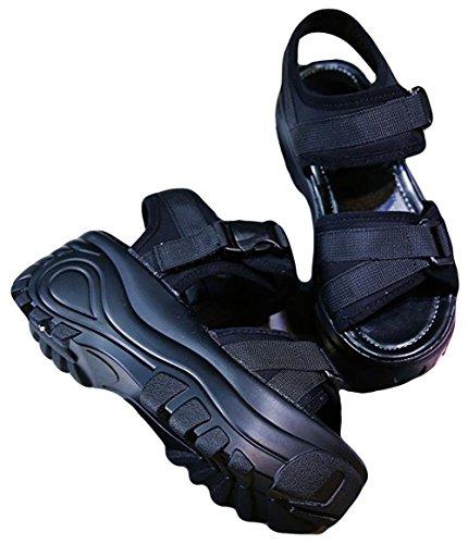(BaLuoTe)厚底サンダル レディース 厚底サンダル カジュアル サンダル サマーサンダル 夏 スポーツサンダル マジックテープ 軽量 歩きやすい シューズ おしゃれ 高見え カジュアル オープントゥ 韓国 ファッション サンダル