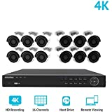 LaView 16 Channel 4K H.265 PoE NVR Ultra-HD (3840x2160) Security Camera System with 12 x 8MP IP Bullet Cameras, 100ft Night Vision, Weatherproof Surveillance Camera 3TB HDD