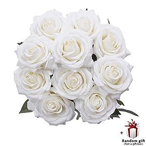 Judy Fake Roses 10 PCS Artificial Flowers Arrangements Wedding Bouquet Decoration (White) 2