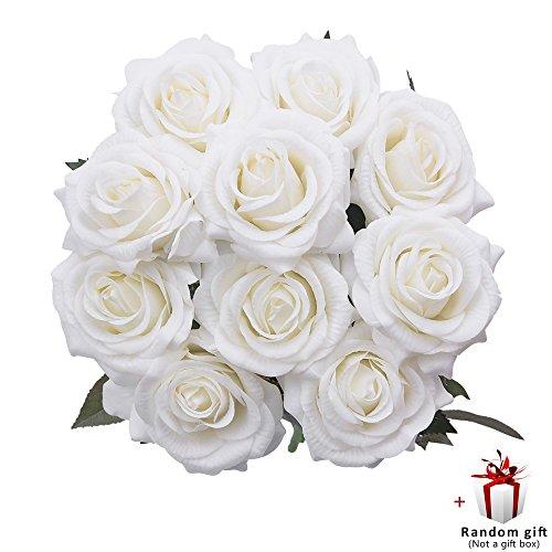 Judy Fake Roses 10 PCS Artificial Flowers Arrangements Wedding Bouquet Decoration ()