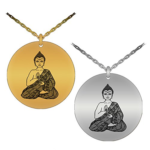 Sporty & Symbolic Yoga Sitting Buddha Laser-Engraved Pendant Necklace (Stainless Steel Version)