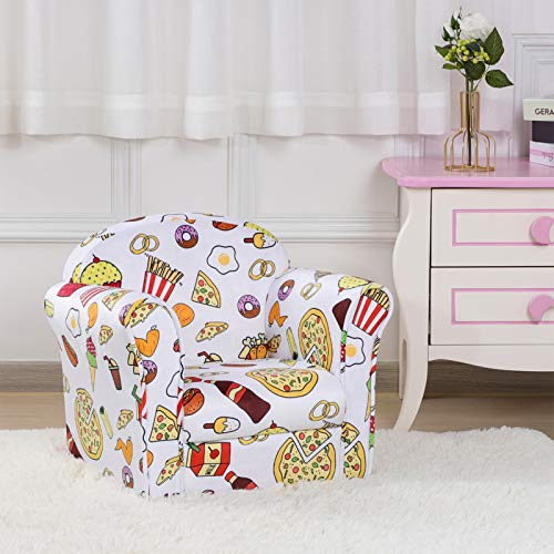 Single Velvet Kids Armchair, Upholstered Toddler Mini Sofa Chair, Ideal Bbay Gift Seat (White)