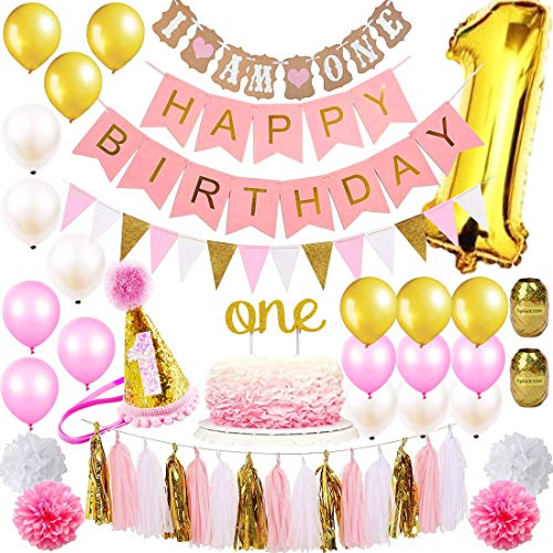 1st Birthday Girl Decorations Mega Party Supplies Set | Princess First Pink n Gold Girls Theme Kit | 1 Year Hat, Happy Birthday Banner, Cake Topper, Number Mylar Balloon, Latex Balloons, Paper Decor ()