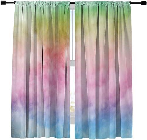 Misscc Blackout Curtains Fantastic Rainbow Sky