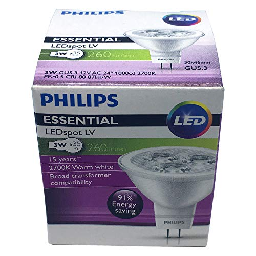 Philips 3W MR16 Essential LED 2700K Warm White Lamp Spot Light 12V Bulb GU5.3 Replace 35W Old Halogen, Store Shop Gallery Hall Lobby