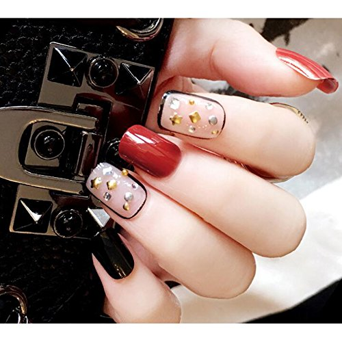 Dongcrystal 24pcs 3D Black and Red False Nails Bling Glitter Fake Full Nail Tip Punk Rivet Decor Nail Art -
