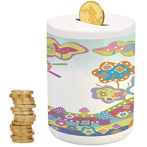 Doodle,Piggy Bank Coin Bank Money Bank,Printed Ceramic Coin Bank Money Box for Cash Saving,Childlike Drawing of a Hill with Colorful Sun a Tree and Clouds Simple Abstract Art -