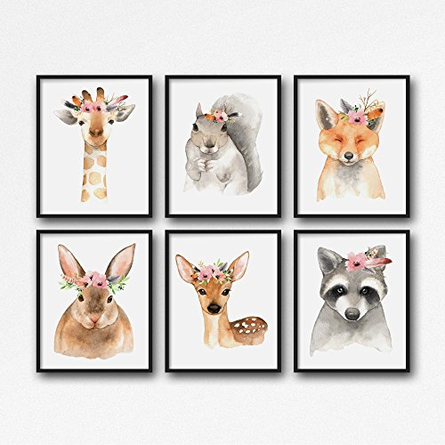 Woodland Nursery Prints, Girl Nursery Art, Woodland Animal Decor, Set of 3 , 4 , 5 or 6 animals by RosaLilla