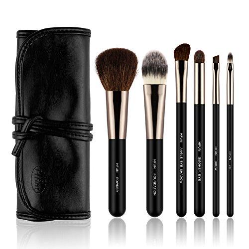 HFUN 6 Piece Black Make up Brush Set Foundation Eyeliner Blush Contour (6 Piece Makeup Set)
