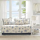 Madison Park Bayside Daybed Size Quilt Bedding Set - Blue, Khaki, Seashells – 6 Piece Bedding Quilt Coverlets – 100% Cotton Sateen Bed Quilts Quilted Coverlet