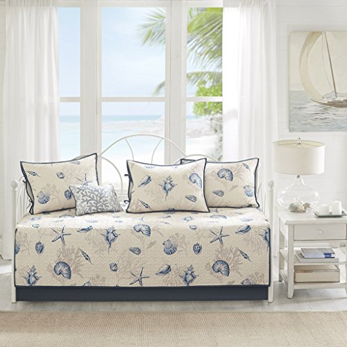 Madison Park Bayside Daybed Size Quilt Bedding Set - Blue, Khaki, Seashells - 6 Piece Bedding Quilt Coverlets - 100% Cotton Sateen Bed Quilts Quilted Coverlet